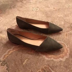 Crown Vintage Olive Suede Flats with slight heel
